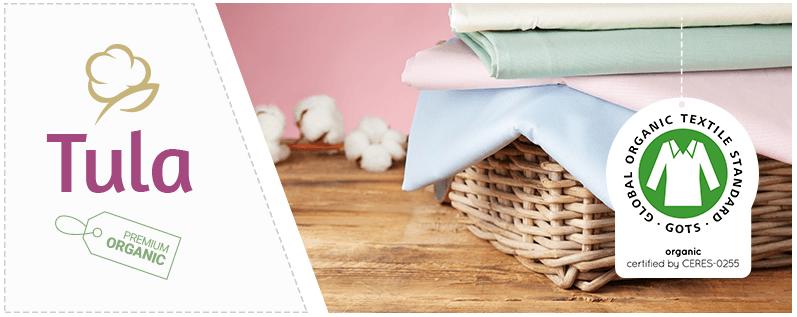 La marca TULA ofrece tejidos estampados con el certificado GOTS