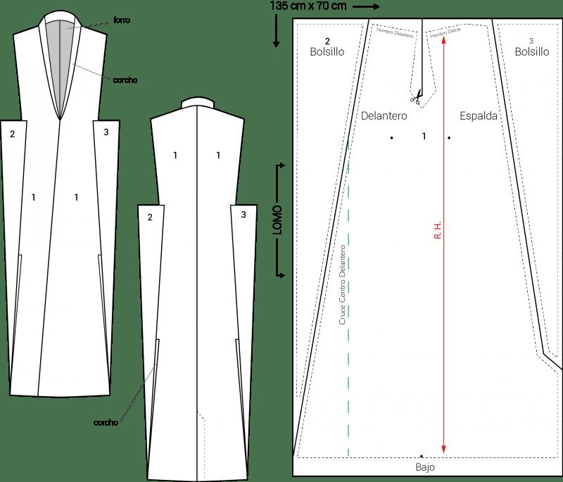 Patrón del abrigo sin mangas zero waste, talla 38.